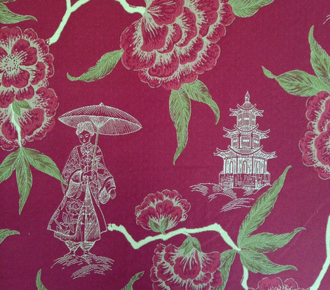 China Seas Fabric: Kyoto - Claret Multi on Trevira (Commercial Quality)