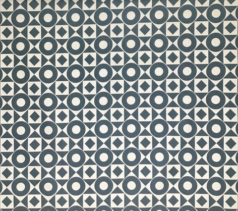 Home Couture Fabric: Circles & Squares Reverse - Charcoal on Tan 100% Belgian Linen