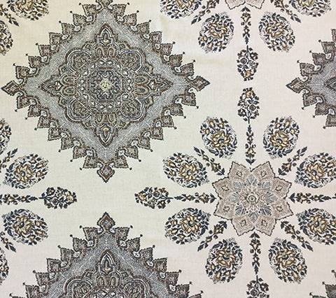 Home Couture Fabric: Persepolis - Custom Brown / Navy on Oatmeal Belgian Linen/Cotton