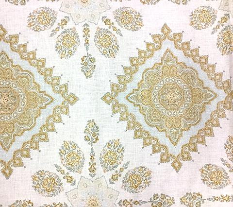 Home Couture Fabric: Persepolis - Custom Blue / Tobacco / Taupe on White Belgian Linen/Cotton