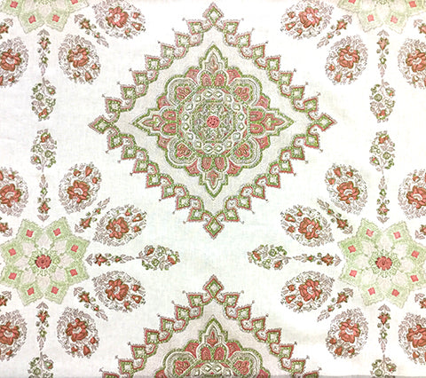 Home Couture Fabric: Persepolis - Custom Fig / Camel / Orange on White Belgian Linen/Cotton