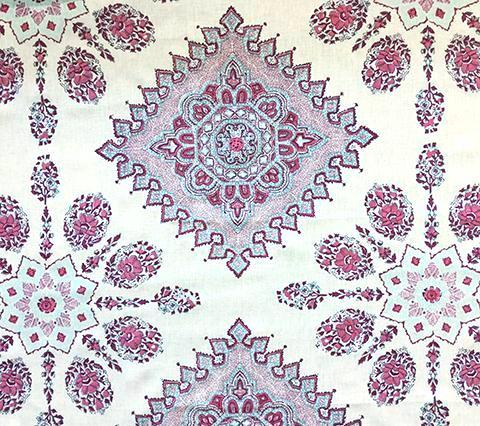 Home Couture Fabric: Persepolis - Custom Red / Burgundy / Turquoise on 100% Belgian Linen