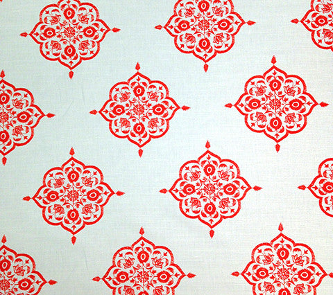 Home Couture Fabric: Medara - Melon on Cream 100% Belgian Linen