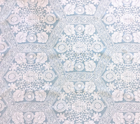 Home Couture Fabric: Melani Background - Custom Celeste Blue on Light-Tint 100% Belgian Linen