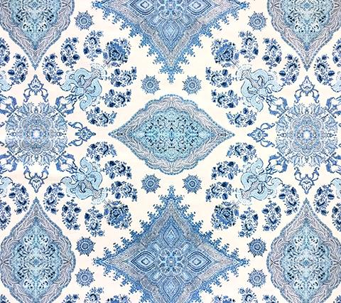 Home Couture Fabric: Isfahan - Custom Multi Celeste / Blue on White Belgian Linen/Cotton