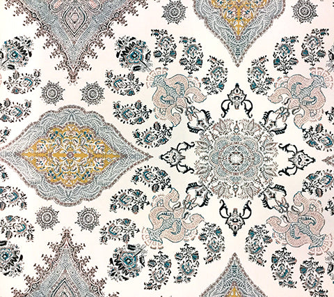 Home Couture Wallpaper: Isfahan - Custom Slate / Pink / Gold / Turquoise on Off White Paper
