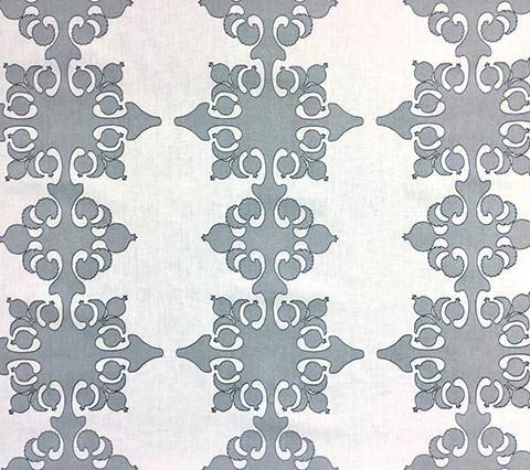 Home Couture Fabric: Argentine - Custom Silver / Charcoal on White 100% Belgian Linen