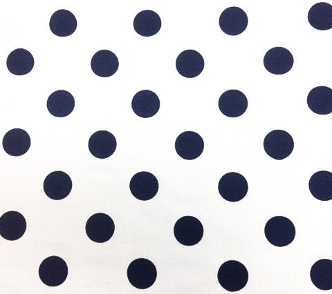 China Seas Fabric Charade Custom White with Navy Polka Dots on Belgian Linen Cotton