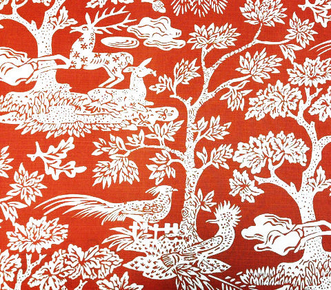 Quadrille Prints: Magic Garden Reverse - Custom Orange on Tinted Belgian Linen/Cotton