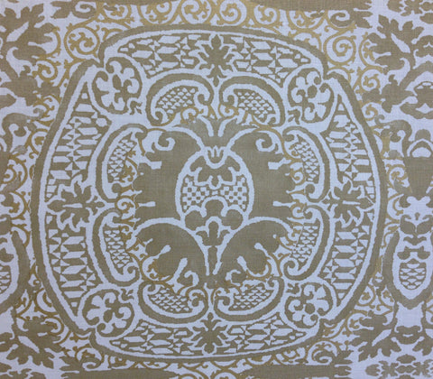 Quadrille Prints: Veneto - Custom Venetian Gold on Cream 100% Belgian Linen