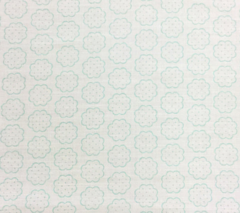 Quadrille Fabric: Sybil - Custom Pale Aqua on Tinted Belgian Linen/Cotton