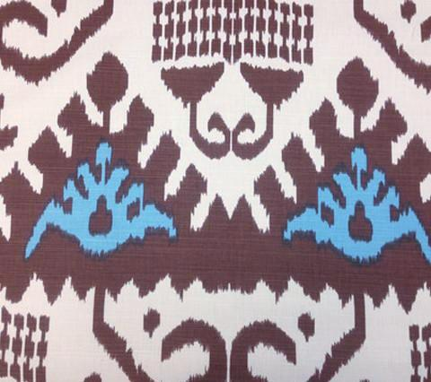 Quadrille Prints: Kazak - Custom Tobacco Brown Turquoise large ikat batik print on Tinted Belgian Linen/Cotton fabric hand-printed