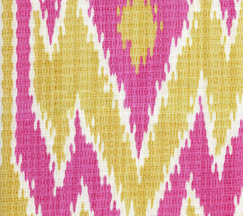 China Seas Fabric: Lucaya Ikat - Custom Pink / Yellow on Light-Tint Soft Linen/Cotton Blend (Imported from Italy)