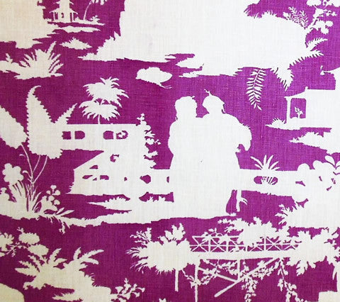 Quadrille Prints: Paradise Background Custom Lilac magenta purple toile chinoiserie asian temple print on Tinted Curtain-Weight Belgian Linen/Cotton fabric