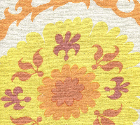 Quadrille Fabric: Suzani - Custom Yellow / Orange on 100% Silk Matka