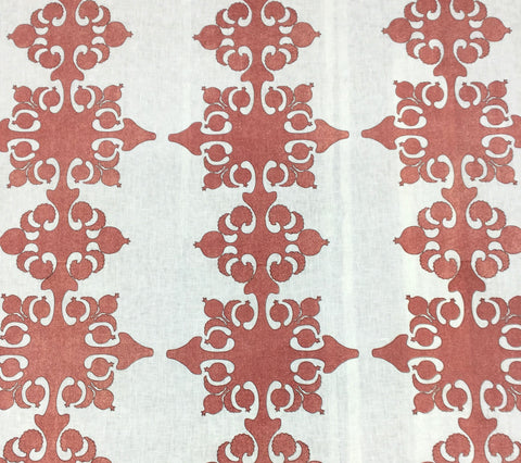 Home Couture Fabric: Argentine - Custom Lobster Red / Brown Outline on Ivory 100% Soft Irish Linen