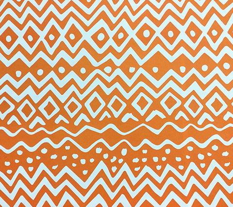 Alan Campbell Fabric: Deauville - Custom Orange on White Trevira