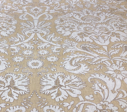 Quadrille Fabric: Borghese - Custom Camels on Ecru 100% Belgian Linen