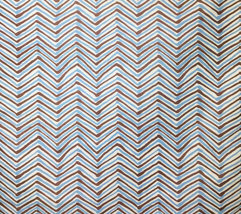 Alan Campbell Fabric: Zig Zag Multicolor - Custom New Brown / New Blue on Tinted Belgian Linen/Cotton