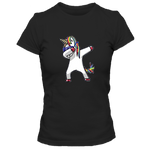 T-Shirt couple noir licorne DAB multicolore amour