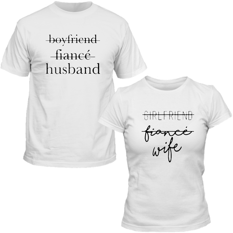 T-Shirts Couple Assortis Husband & Wife Blanc