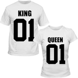 T-Shirts Couple King & Queen 01 Blanc