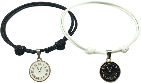 Bracelet Couple Distance Horloges Noir Blanc