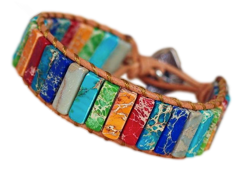 Bracelet Mixte Pour Couple Pierres jaspe Multicolores bouddhiste