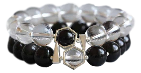 Bracelet Couple Distance assorti Obsidienne Cristal blanc noir