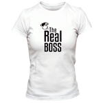T-Shirt Homme the real boss blanc