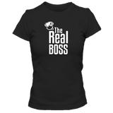 T-Shirt Homme the real boss noir