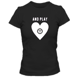 T-Shirt cœur and play femme noir
