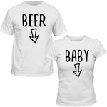T-Shirts Couple Beer & Baby Blanc