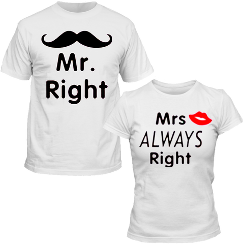 T-Shirts Couple Mr & Mrs Always Right blanc