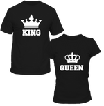 T-Shirts Couple King & Queen Couronne Noir