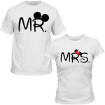T-Shirts Couple Mickey & Minnie Mr Mrs blanc homme femme