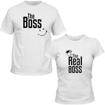 T-Shirts Couple The Boss The Real Boss blanc smiley