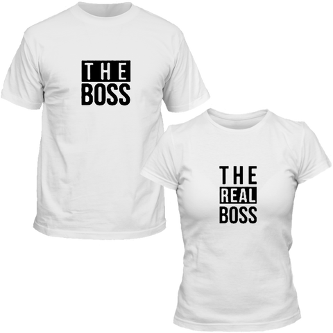 T-Shirts Couple The Boss & The Real Boss Blanc