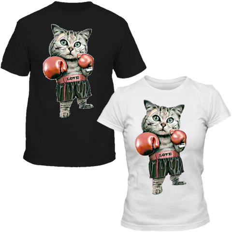 T-Shirts Couple Chaton Badass Love