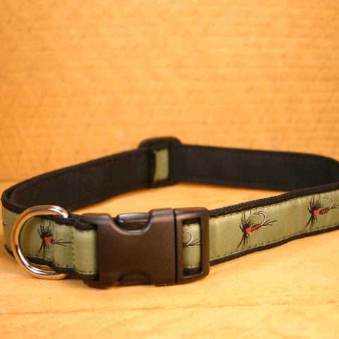Olive  Fly Hemp Conservation Canvas  Ribbon Collar | The Good Dog Company