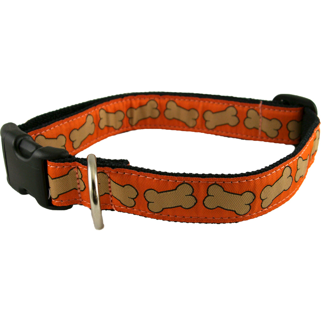 Hemp Dog Collar Orange Bones