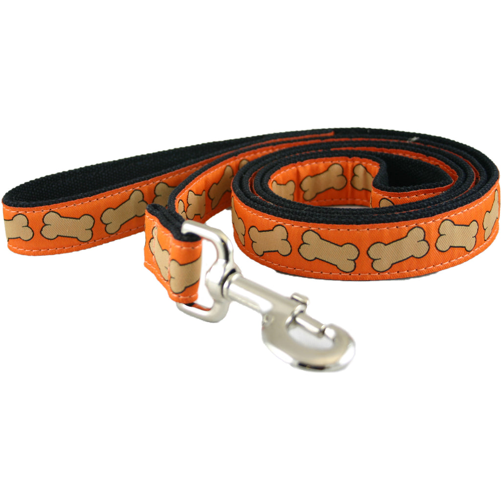 Hemp Dog Leash 6' Orange Bones