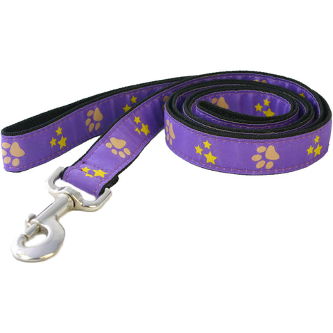Hemp Dog Leash 6' Paws and Stars