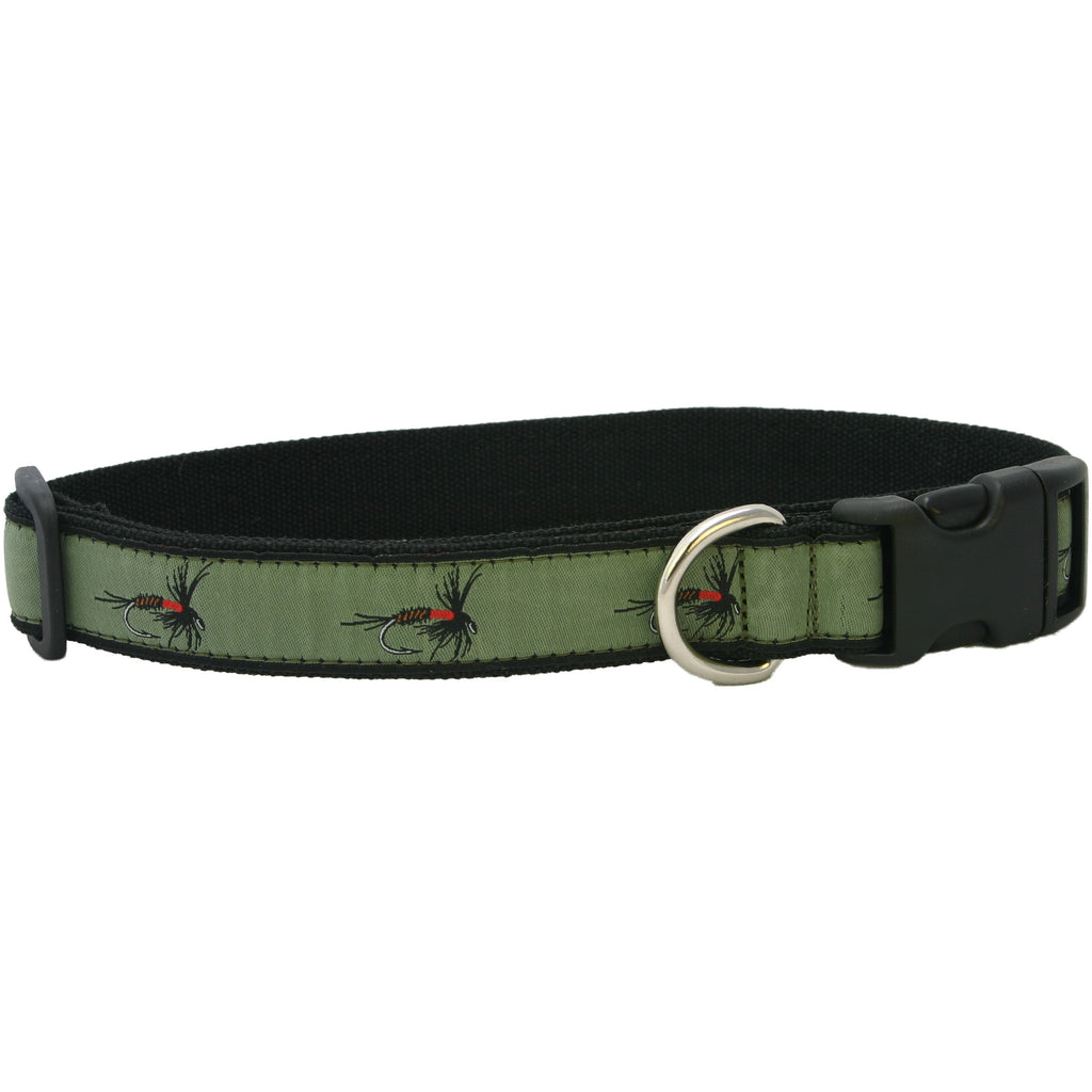 Hemp Dog Collar Olive Fly