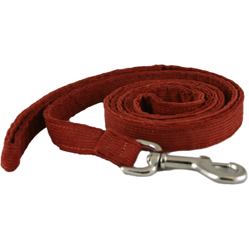 Hemp Corduroy Dog Leash Rust