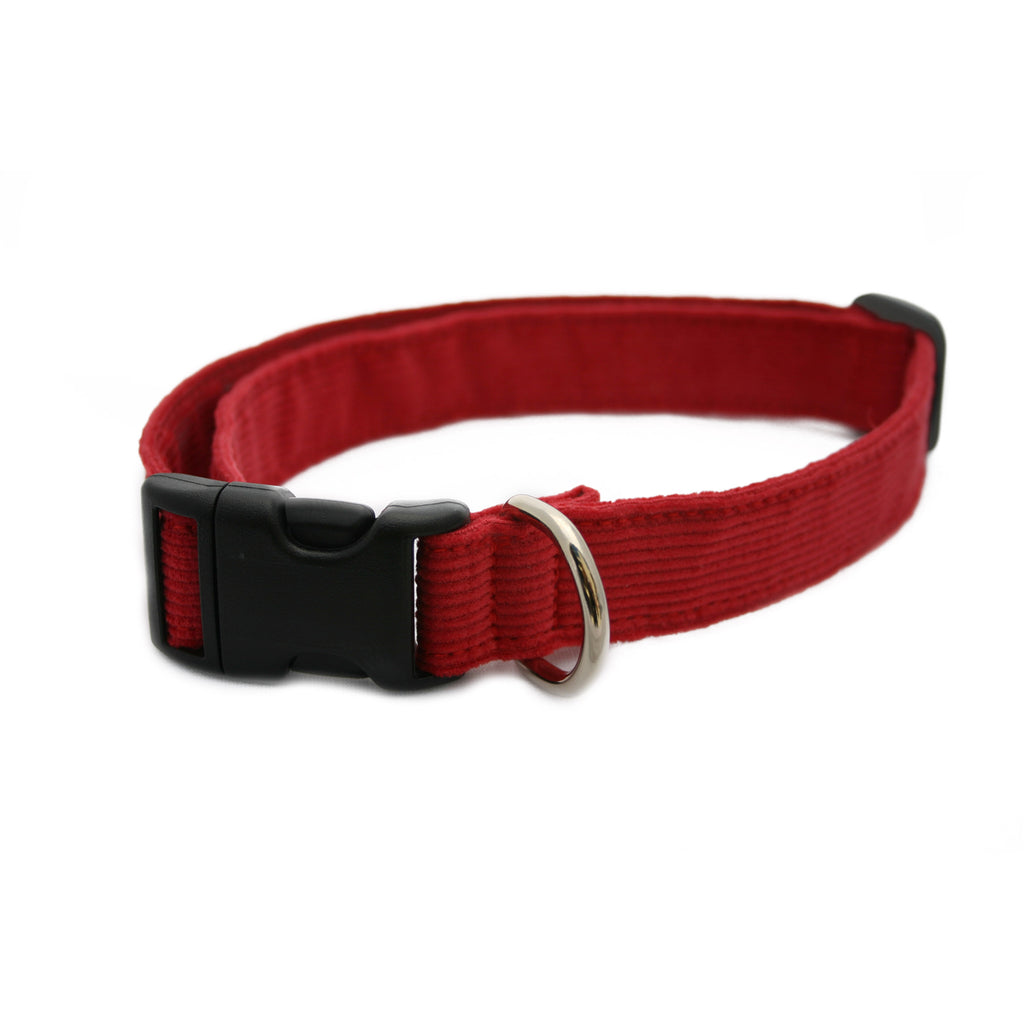 Hemp Corduroy Dog Collar Red