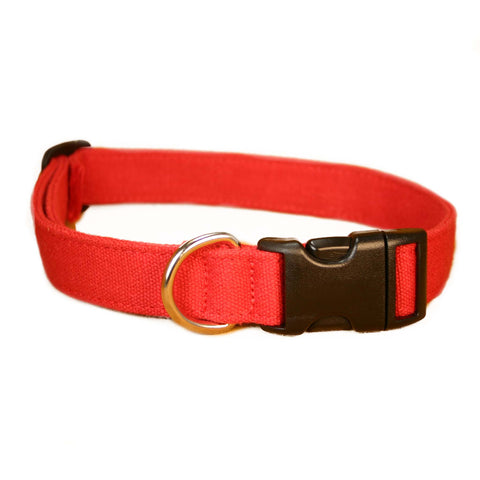 Hemp Dog Collar Red Basic