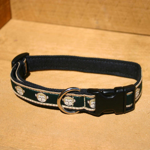 Emerald Monkey Hemp Canvas Ribbon Collar | The Good Dog Company