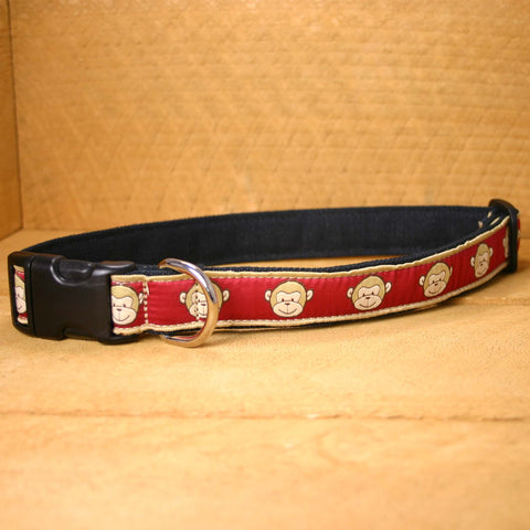 Garnet Monkey Hemp Canvas Ribbon Collar | The Good Dog Company