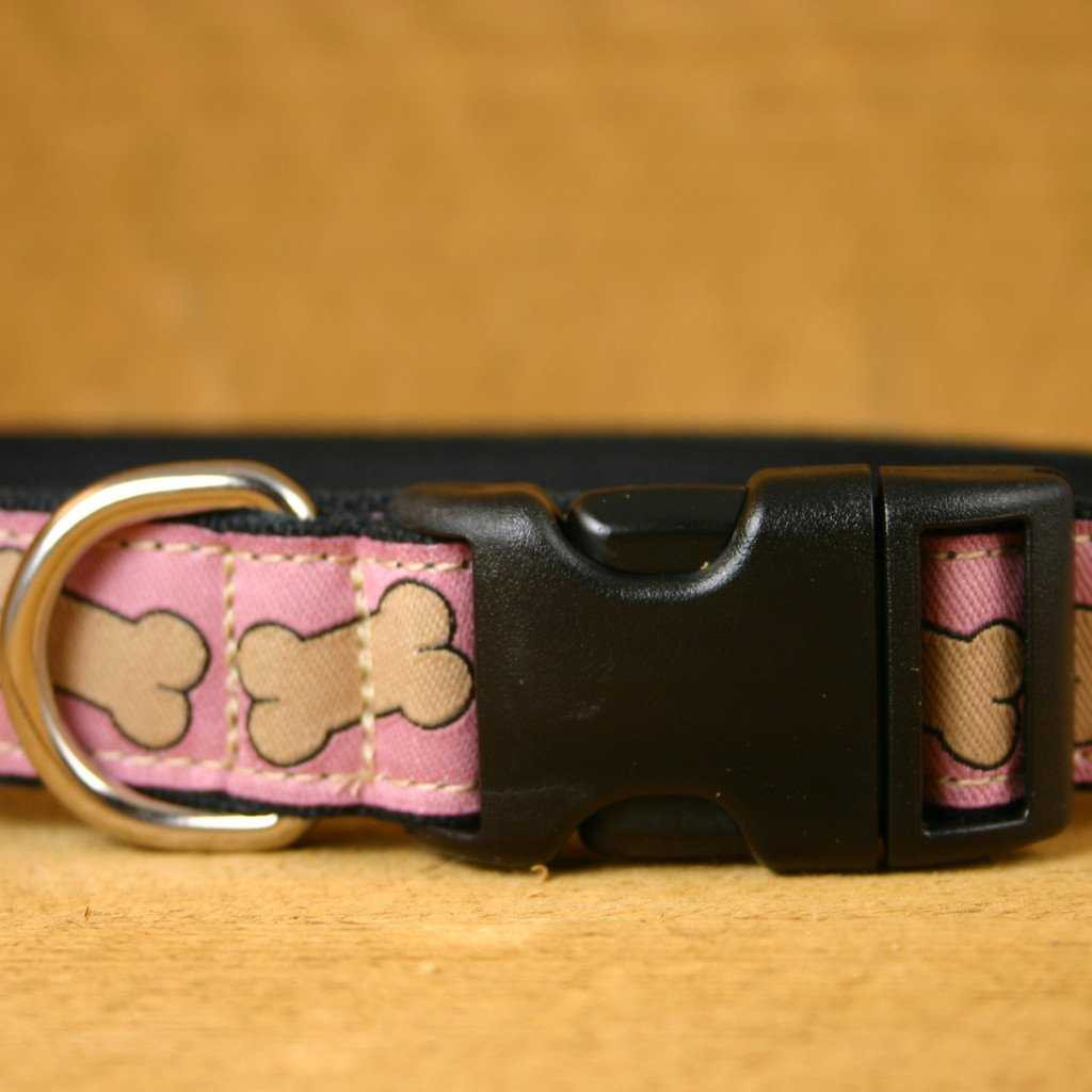 Hemp Dog Collar Pink Bones